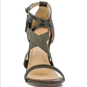 Shoes - NEW!! Olive green stiletto heel strapped open toe